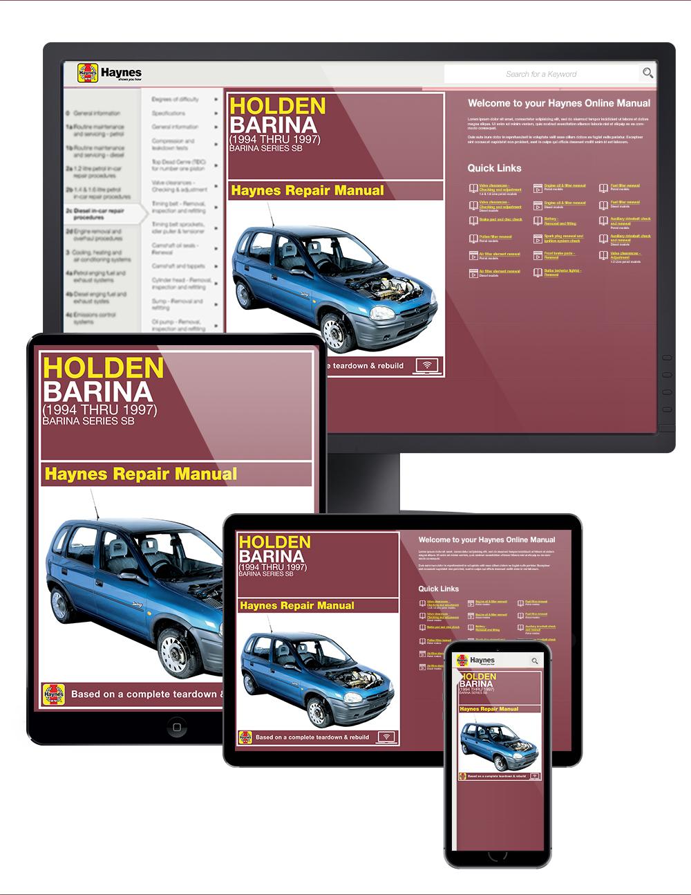 Enlarge Holden Barina (94-97) Haynes Online Manual