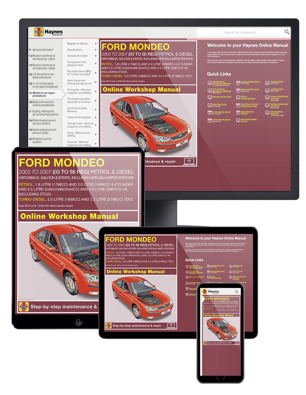 HAYNES MANUAL Ford Mondeo Petrol /& Diesel July 2003-2007 New Hatchback 4619