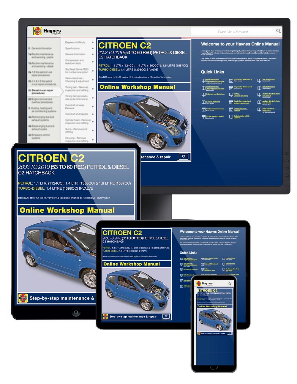 Enlarge Citroen C2 Petrol and Diesel 2003 - 2010 Haynes Online Manual