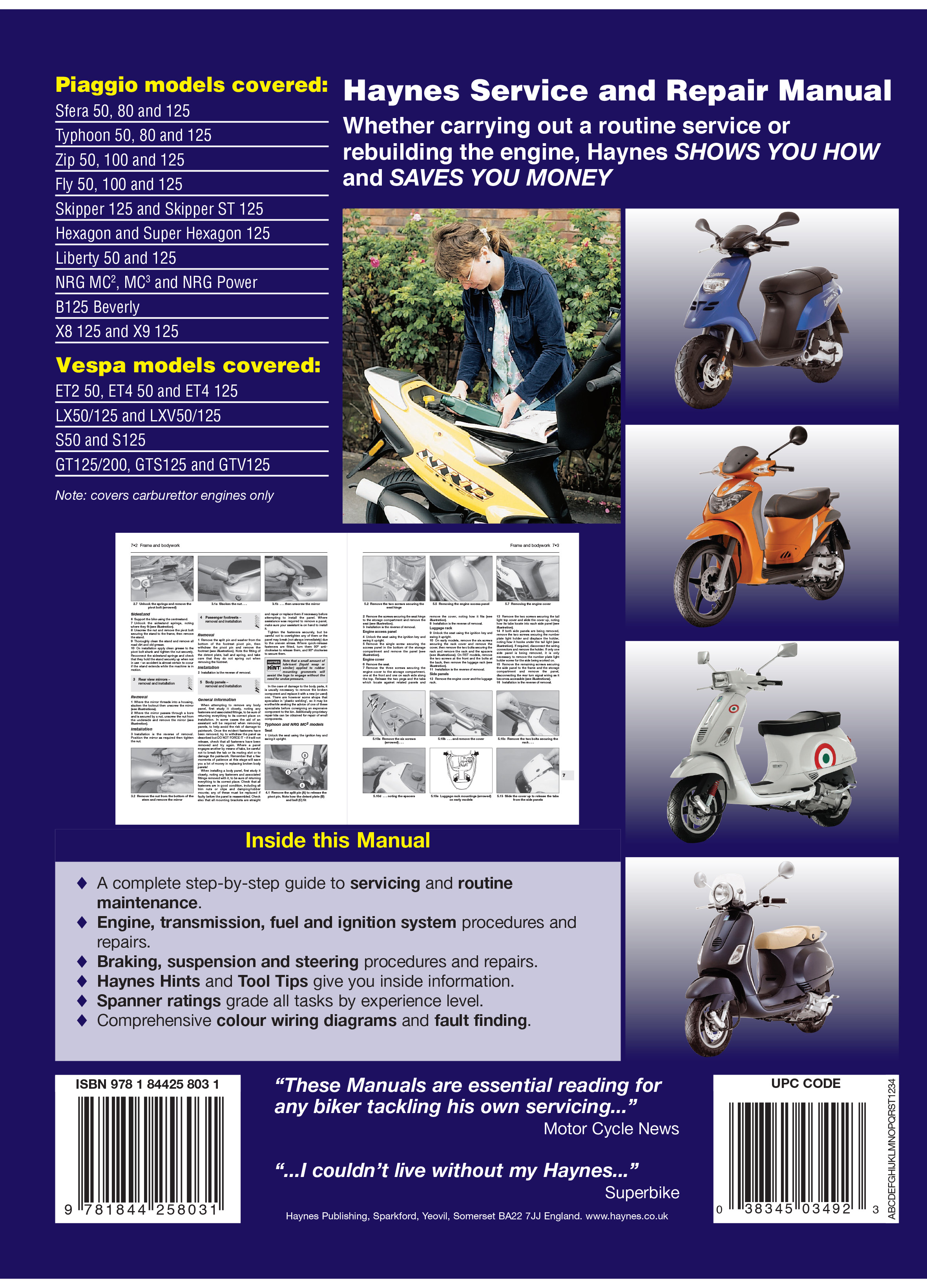 Vespa 200l Wiring Diagram 05 Basic 12v Wire Piaggio Scooters 91 09 Haynes Repair Manual Manuals Electric Scooter Diagrams