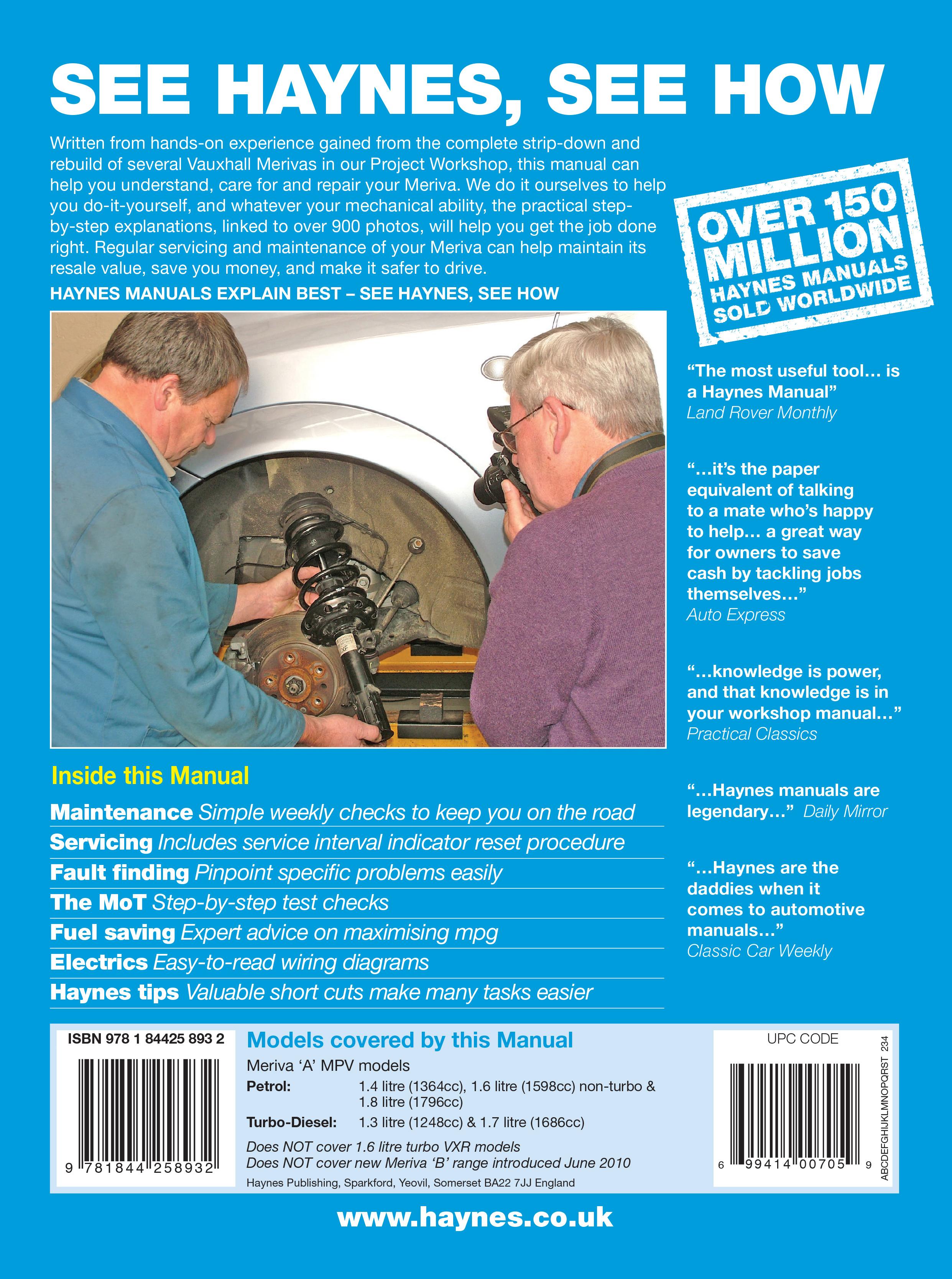 vauxhall/opel meriva petrol & diesel (03 - may 10) haynes repair, Wiring diagram
