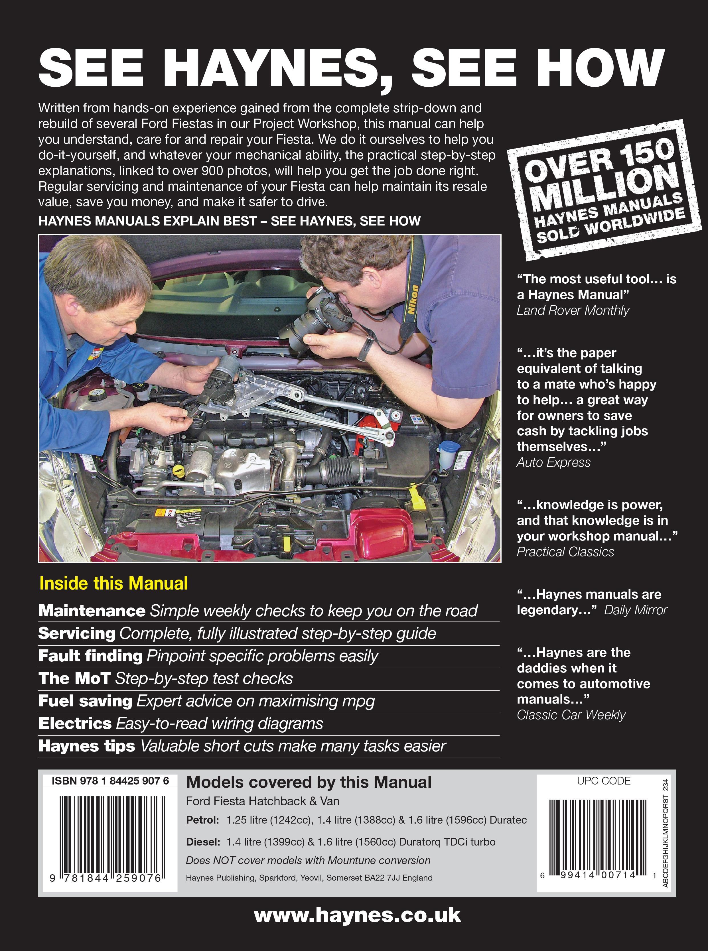 Ford Fiesta Petrol Diesel 08 11 Haynes Repair Manual Festiva Wiring Diagram Pdf