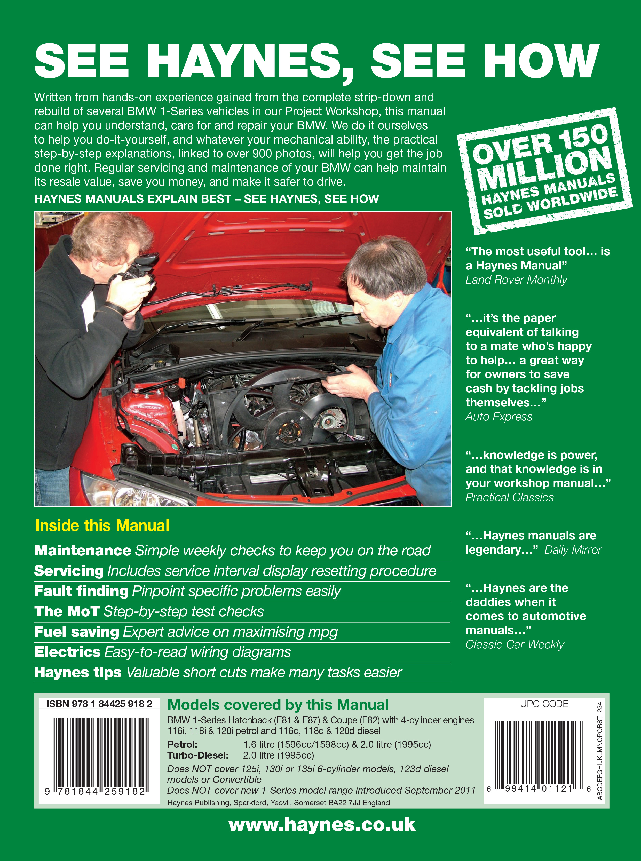 Bmw e81 & e87 1 series owners manual owners guide handbook.