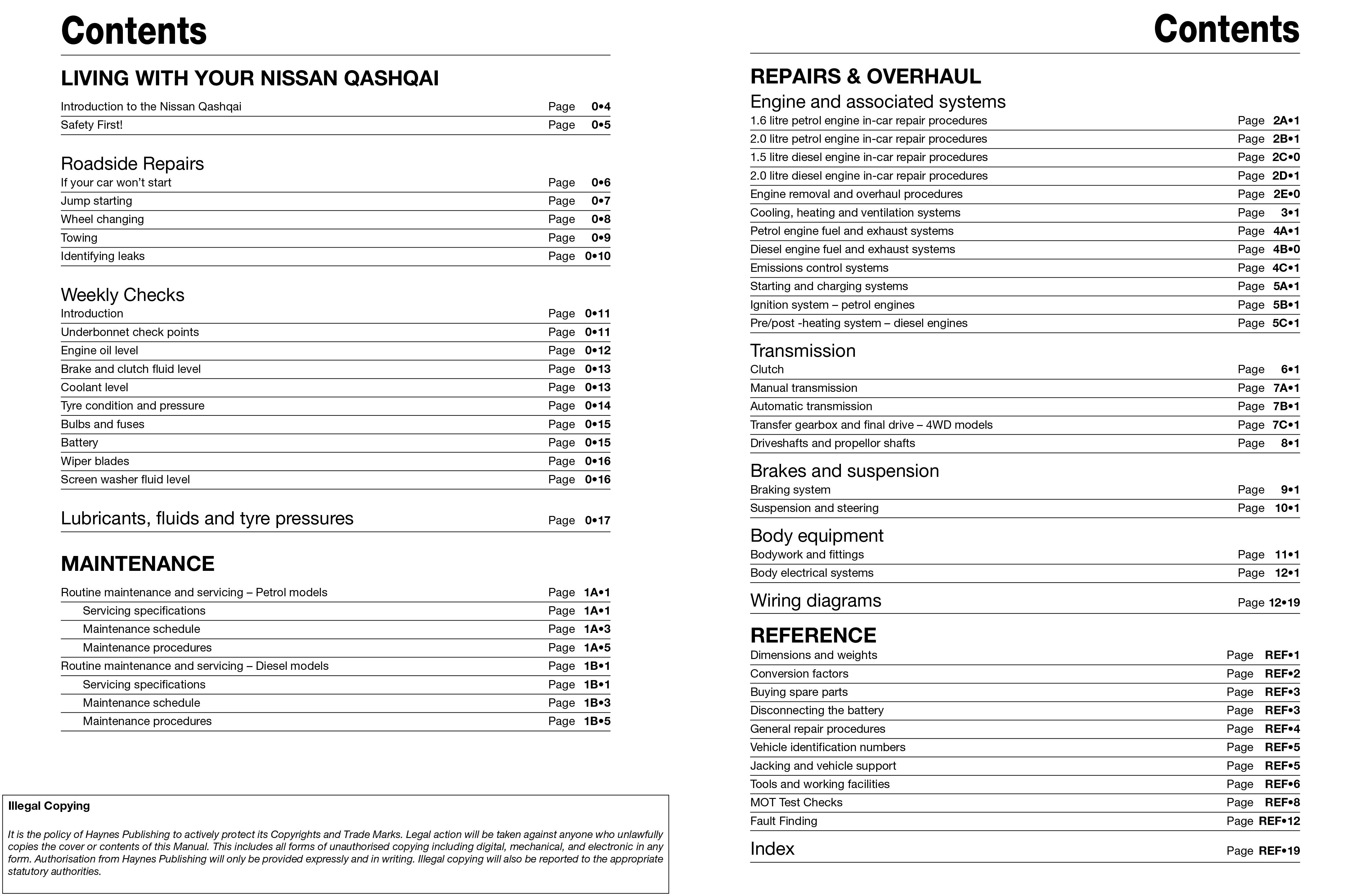 nissan qashqai petrol diesel 07 13 haynes repair manual rh haynes com nissan qashqai workshop manual pdf nissan qashqai j11 workshop manual