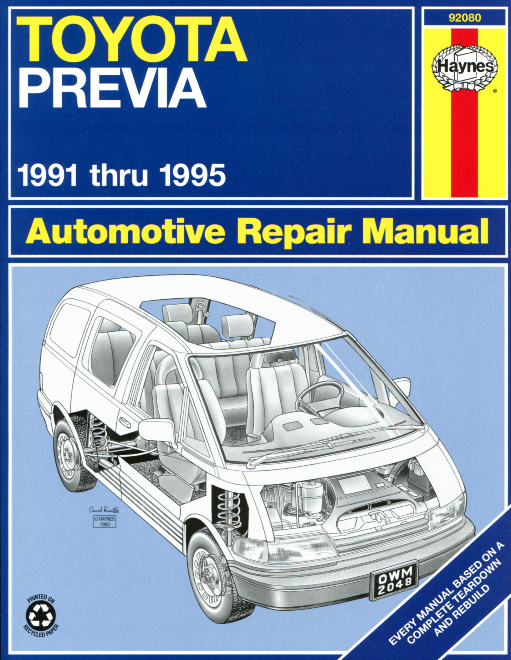 Haynes 92080 cover toyota previa (1991 1995) haynes repair manual (usa) haynes manuals 1995 toyota previa wiring diagram at panicattacktreatment.co