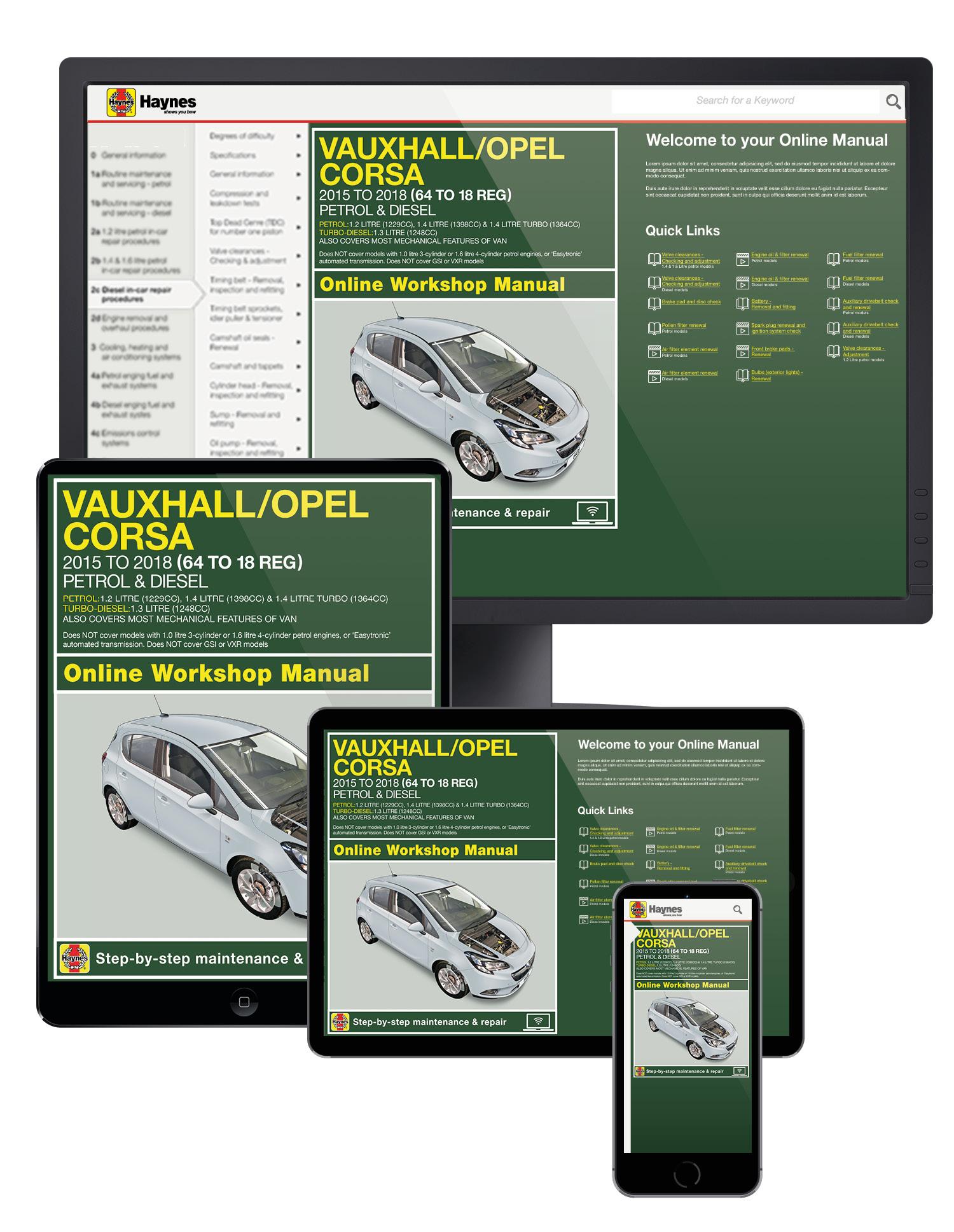 Vauxhall//Opel Corsa petrol /& diesel 64 to 18 /'15-/'18 Paperback