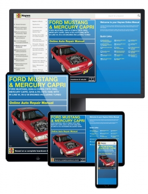 Ford Mustang and Mercury Capri covering Ford Mustang, Ghia and Cobra, Mercury Capri, Ghia and RS with in-line V4, V6 & V8 engines including turbo for these years: Ford Mustang (79-93) and Mercury Capri (79-86) Haynes Online Manual