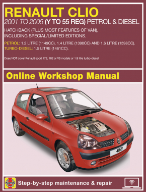 renault clio petrol and diesel jun 01 05 y to 55 haynes online rh haynes com clio 172 workshop manual renault clio 172 haynes manual