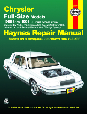 Chrysler full-size FWD & Dodge Dynasty (1988-1993) & Chrysler Imperial, Fifth Ave, LeBaron Landau & Sedan (1990-1993) Haynes Repair Manual (USA)