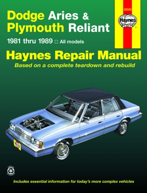 Dodge Aries and Plymouth Reliant (1981 - 1989) Haynes Repair Manual (USA)
