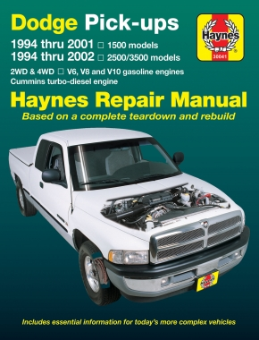 Dodge full-size pick-ups 1500 (1994-2001) & 2500/3500 (1994-2002) petrol & Cummins turbo-diesel Haynes Repair Manual (USA)