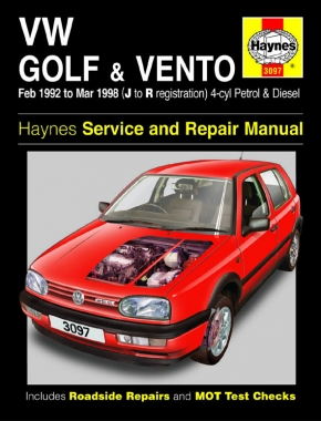 VW Golf & Vento Petrol & Diesel (Feb 92 - Mar 98) Haynes Repair Manual