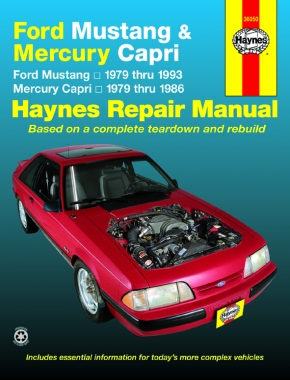 Ford Mustang, Ghia & Cobra (1979-1993) & Mercury Capri, Ghia & RS (1979-1986) in-line 4 cyl & 6 cyl, V6 & V8 Haynes Repair Manual (USA)