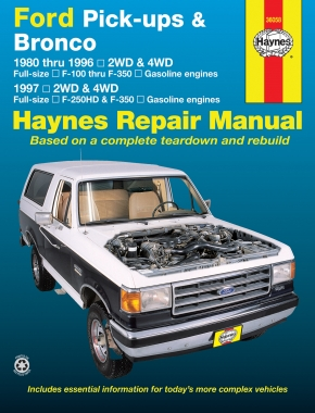 Ford pick-ups F-100-F-350 & Bronco (1980-1996) & F-250HD & F-350 (1997) Haynes Repair Manual (USA)