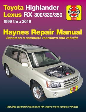 Toyota HighLander (2001-2019) & Lexus RX 300/330/350 (1999-2019) Haynes Repair Manual (USA)