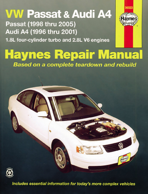 Volkswagen VW Passat (1998-2005) & Audi A4 1.8L turbo & 2.8L V6 (1996-2001) Haynes Repair Manual (USA)