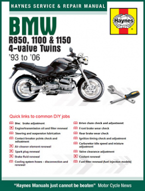 BMW R850, 1100 & 1150 4-valve Twins (93 - 06) Haynes Online Manual