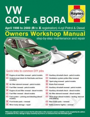 VW Golf and Bora Petrol and Diesel (April 98 - 00) R to X Haynes Online Manual