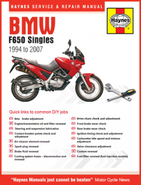 BMW F650 Singles 1994 - 2007 Haynes Online Manual