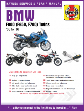 BMW F800, F700 & F650 Twins (06-16) Haynes Online Manual