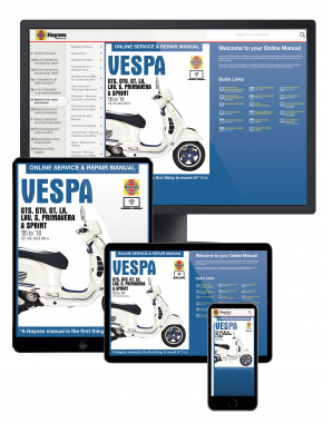 Vespa GTS, GTV, LX & S 125 to 300 (05-18) Haynes Online Manual
