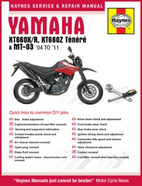 Yamaha XT660 & MT-03 2004 - 2011 Haynes Online Manual
