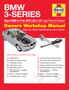 BMW 3-Series (Sept '08 to Feb '12) 58 to 61 Haynes Online Manual