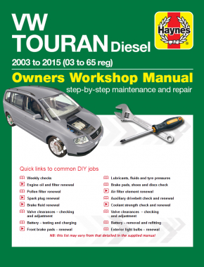 Volkswagen Touran Diesel (03 - 15) 03 to 65 Haynes Online Manual