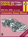 Dodge Daytona & Chrysler Laser 2.2 & 2.5 litre (1984-1989) Haynes Repair Manual (USA)