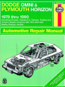 Dodge Omni & Plymouth Horizon (1978-1990) Haynes Repair Manual (USA)