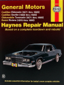 General Motors covering Cadillac Eldorado (71-85), Cadillac Seville (80-85), Oldsmobile Toronado (71-85), & Buick Riviera (79-85) all with petrol engines Haynes Repair Manual (USA)