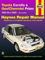 Toyota Corolla & Geo/Chevrolet Prizm (1993-2002) Haynes Repair Manual (USA)