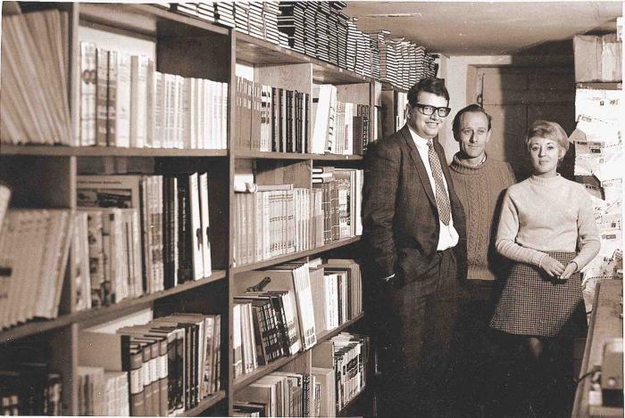 David Haynes, John Hall and Margaret Ibbotson at The Motorists Bookshop