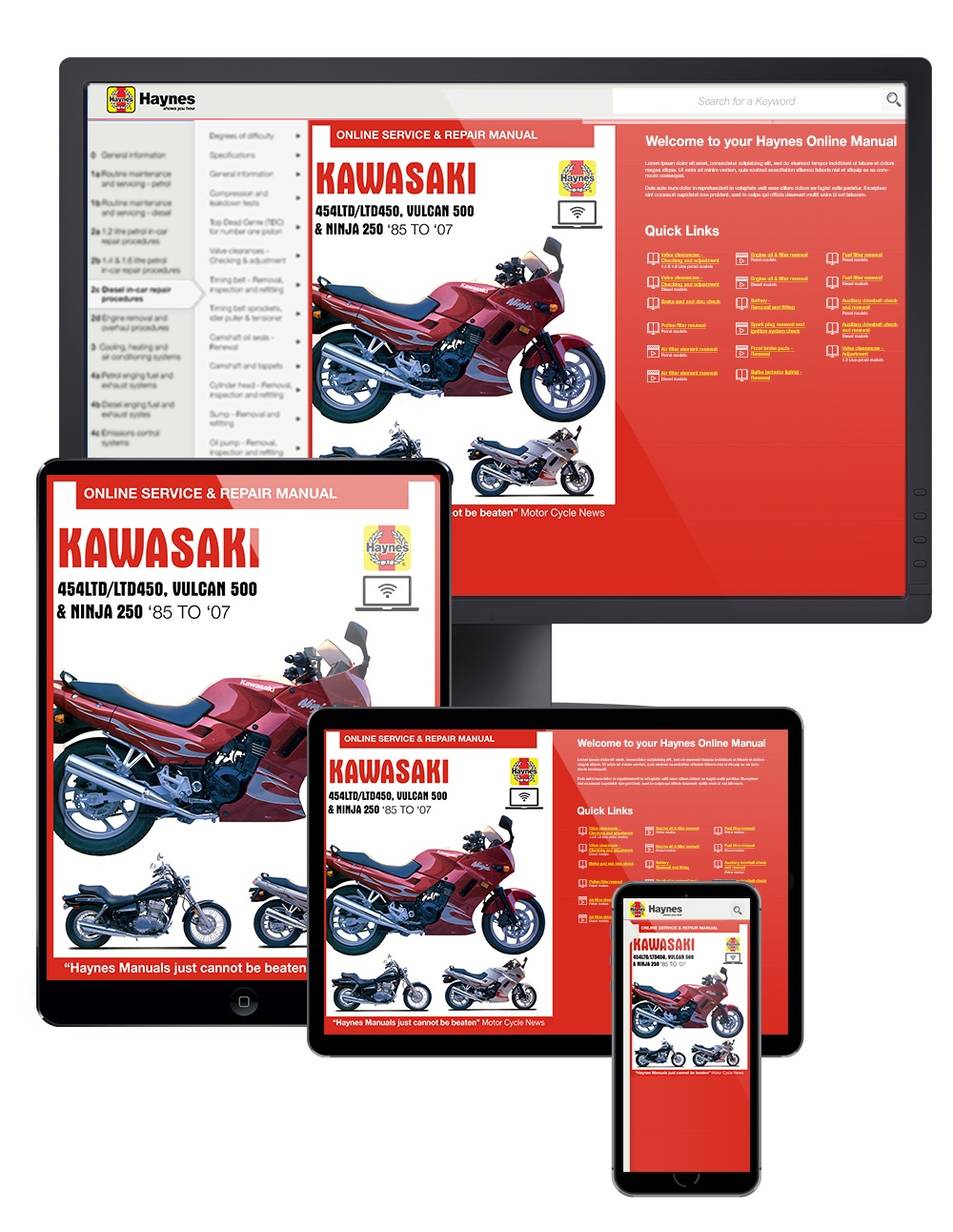 Kawasaki EN450 and 500 Twins Haynes Online Manual covering EN450 (454LTD/LTD450) for 1985 to 1990, EN500 or Vulcan 500 for 1990 to 2007, and EX250 or Ninja 250