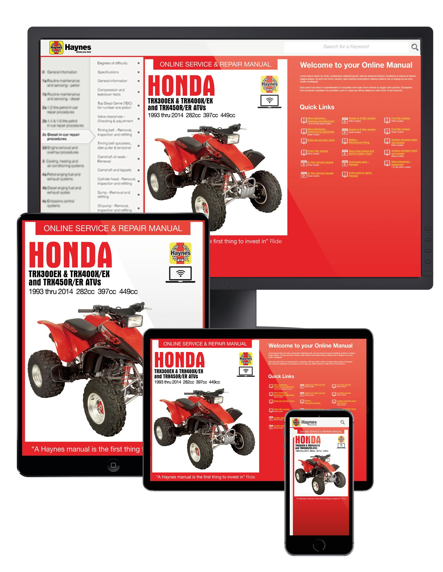 Honda TRX300EX (93-14), TRX400EX (99-14), TRX400X (09-14), TRX450R (04-14) & TRX450ER (06-14) ATV Haynes Online Manual
