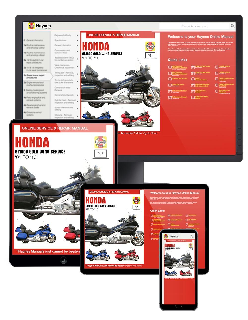 Honda GL1800 Gold Wing (01-10) Haynes Online Manual
