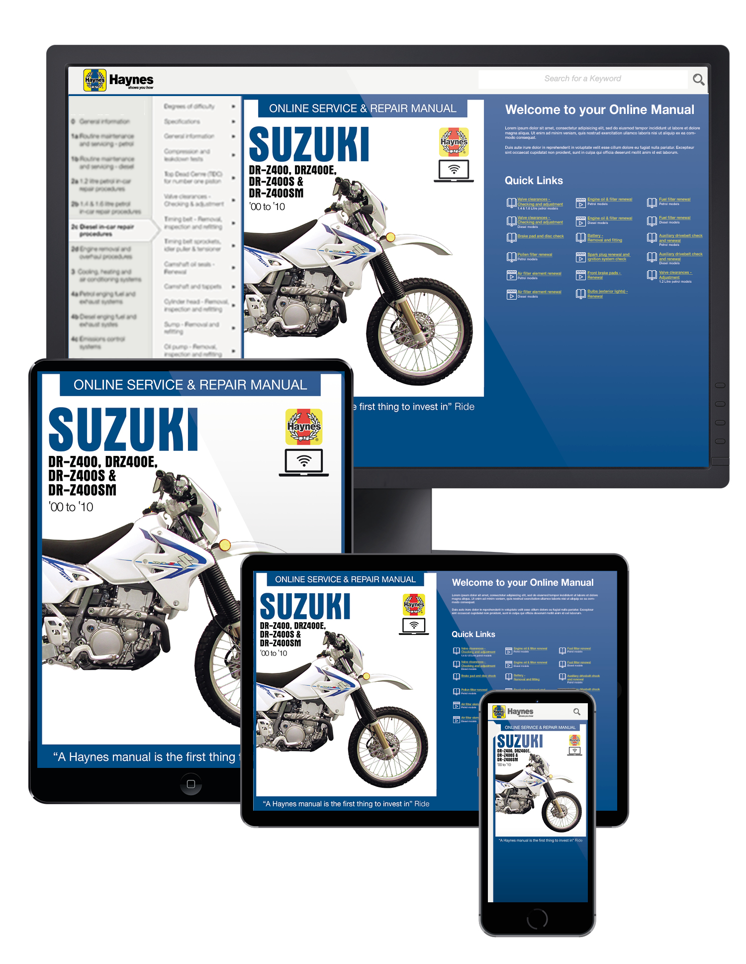 Suzuki DR-Z400 (00-05) DR-Z400E (00-09) DR-Z400S (00-10) & DR-Z400SM (05-10) Haynes Online Manual