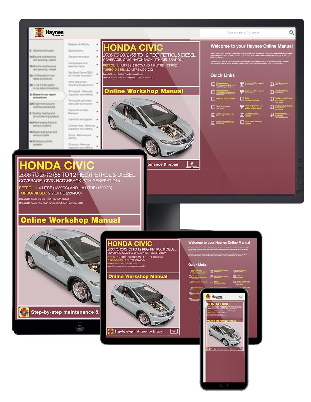 Honda Civic Petrol & Diesel (2006-2013) Haynes Online Manual