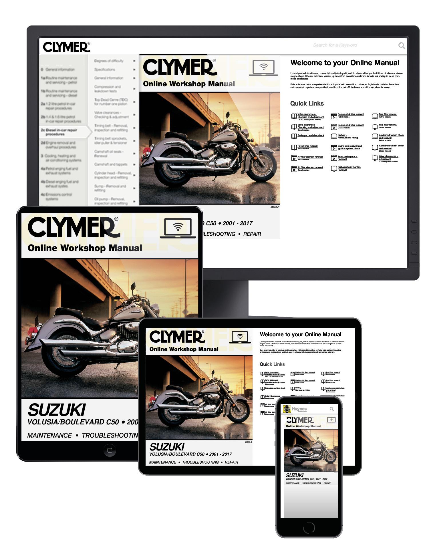 Suzuki Volusia (2001-2004) & Boulevard C50 (2005-2017) Clymer Online Repair Manual
