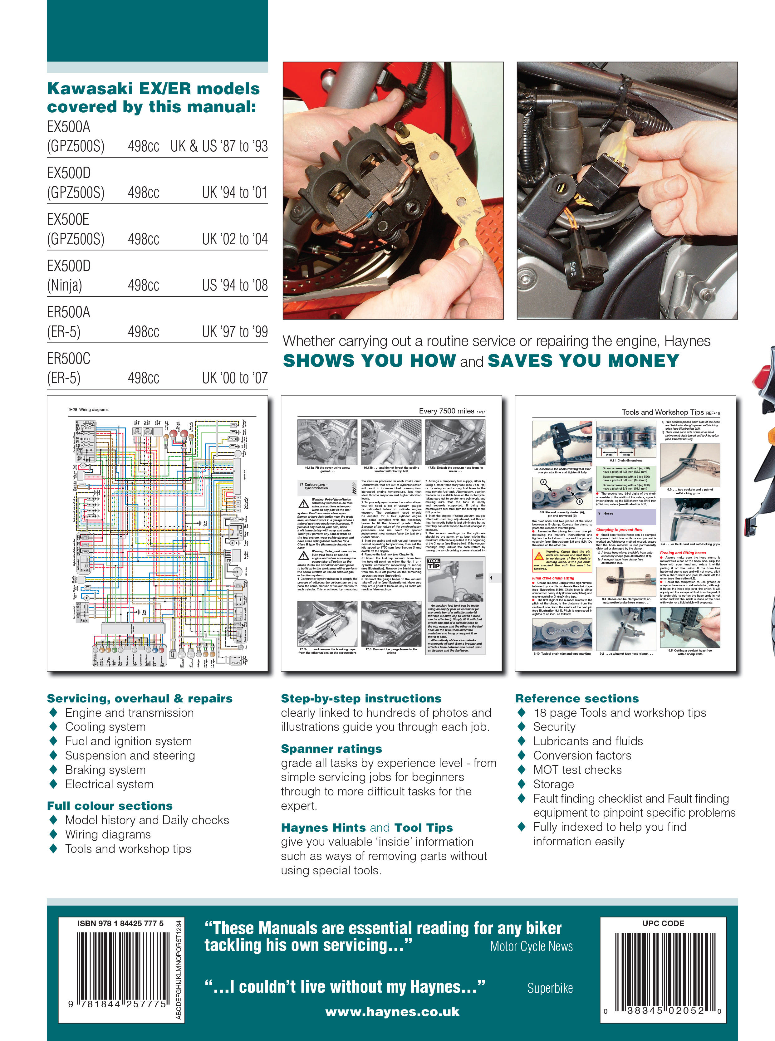 Kawasaki Gpz500s Wiring Diagram Schematic Diagrams Superior Broom Ex500 Er500 Er 5 87 08 Haynes Repair