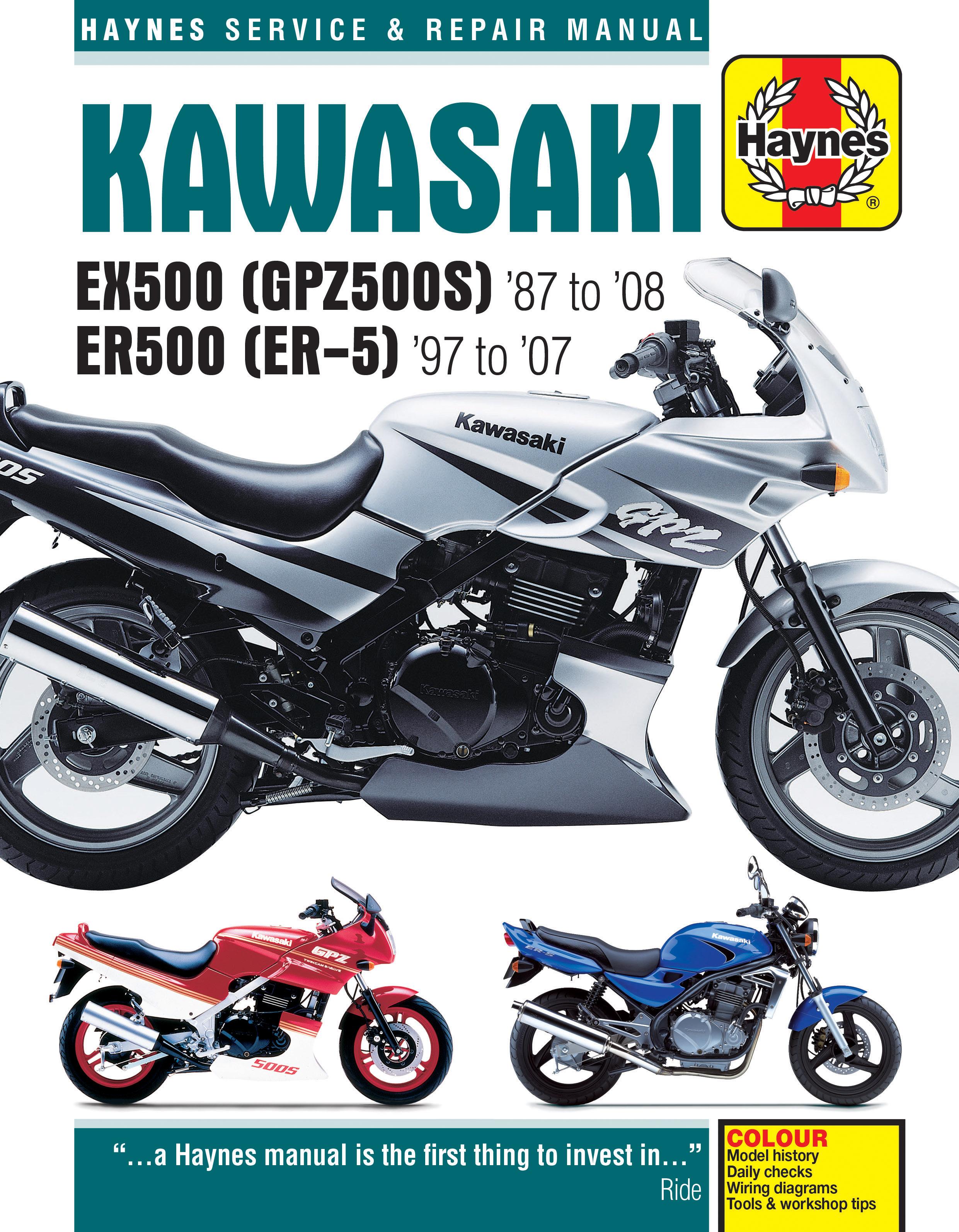Haynes 2052 cover kawasaki ex500 (gpz500s) & er500 (er 5) (87 08) haynes repair 1994 ex500 wiring diagram at virtualis.co