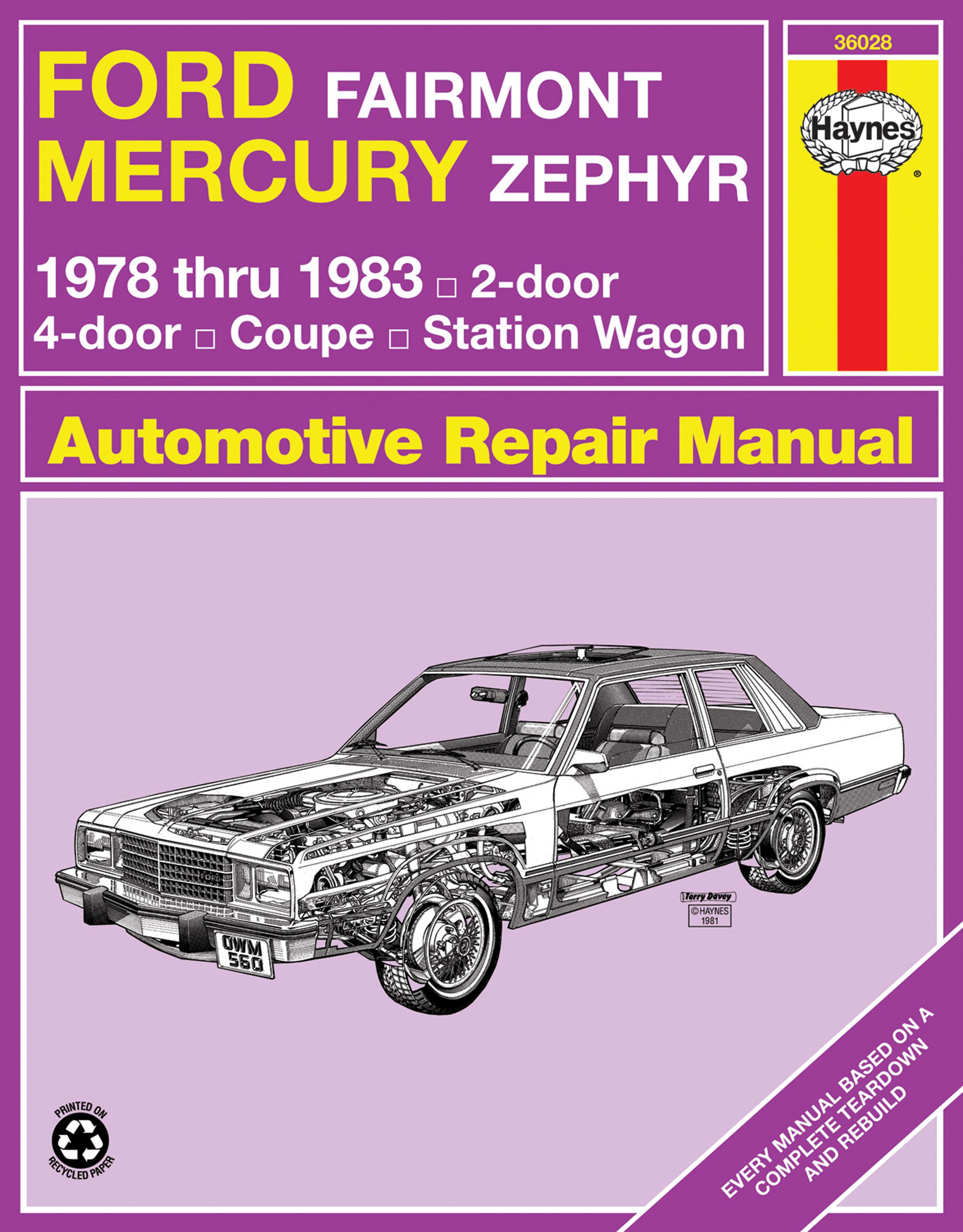 Enlarge Ford Fairmont & Mercury Zephyr (1978-1983) Haynes Repair Manual ...