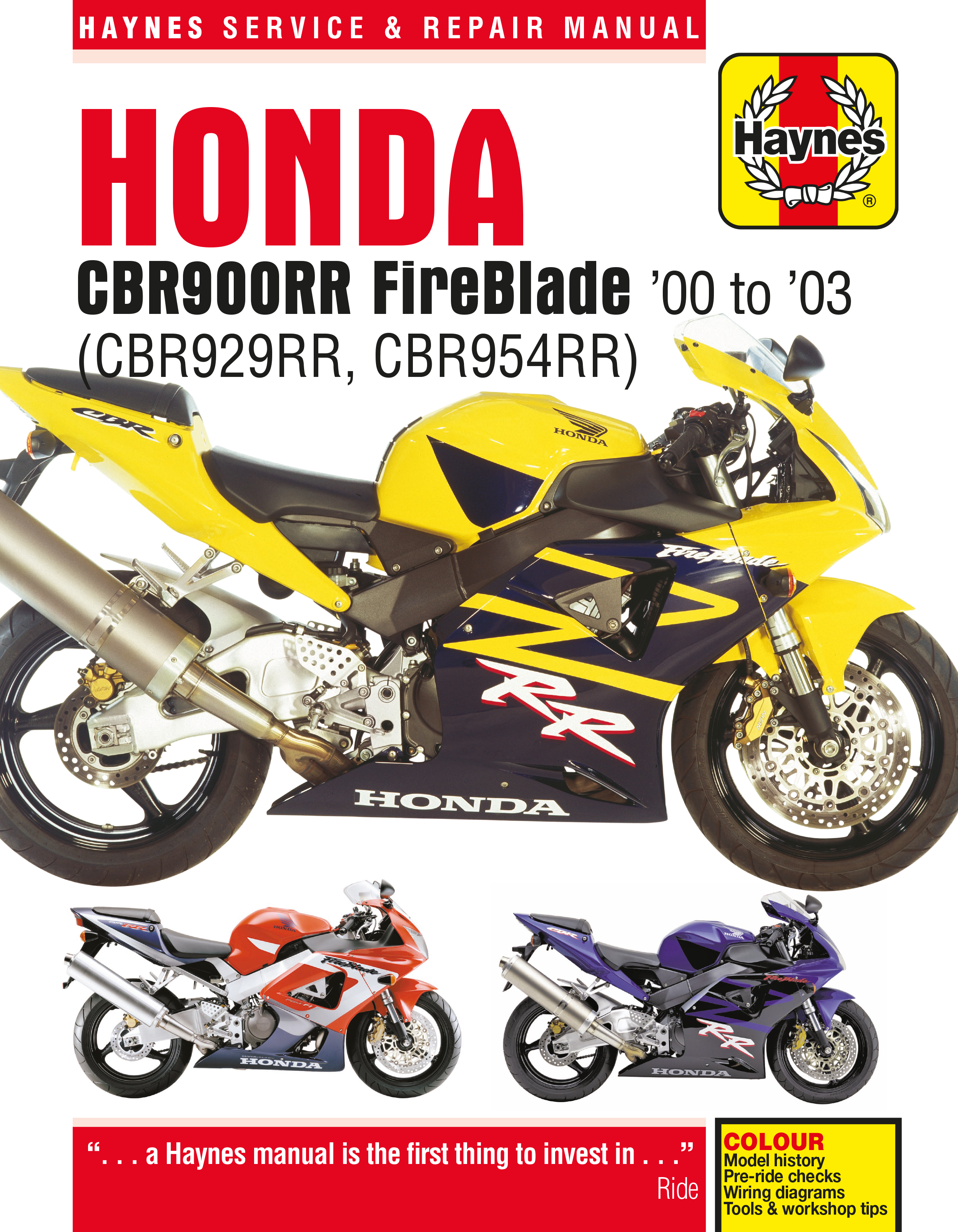 Honda CBR900RR FireBlade (00 - 03) Haynes Repair Manual