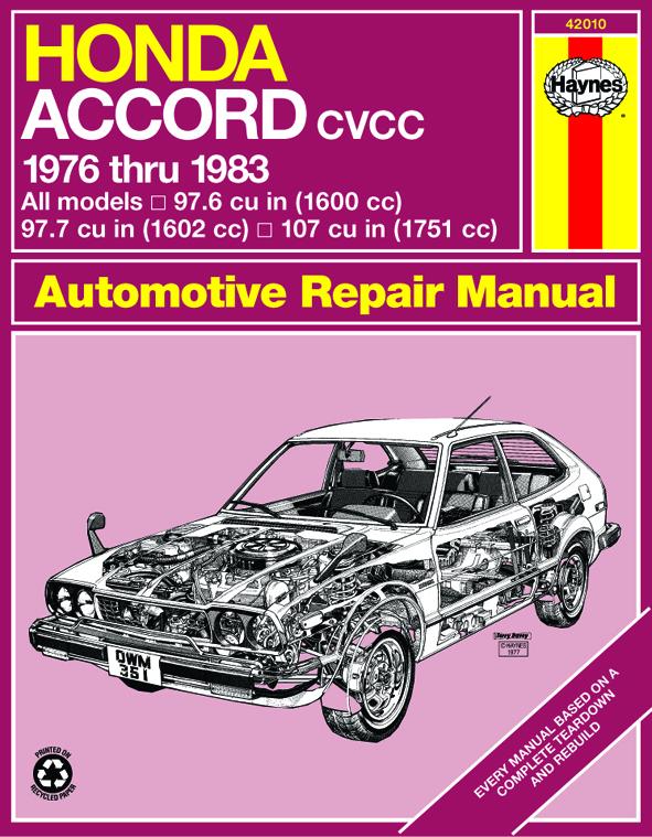 Honda Accord CVCC (1976-1983) Haynes Repair Manual (USA)