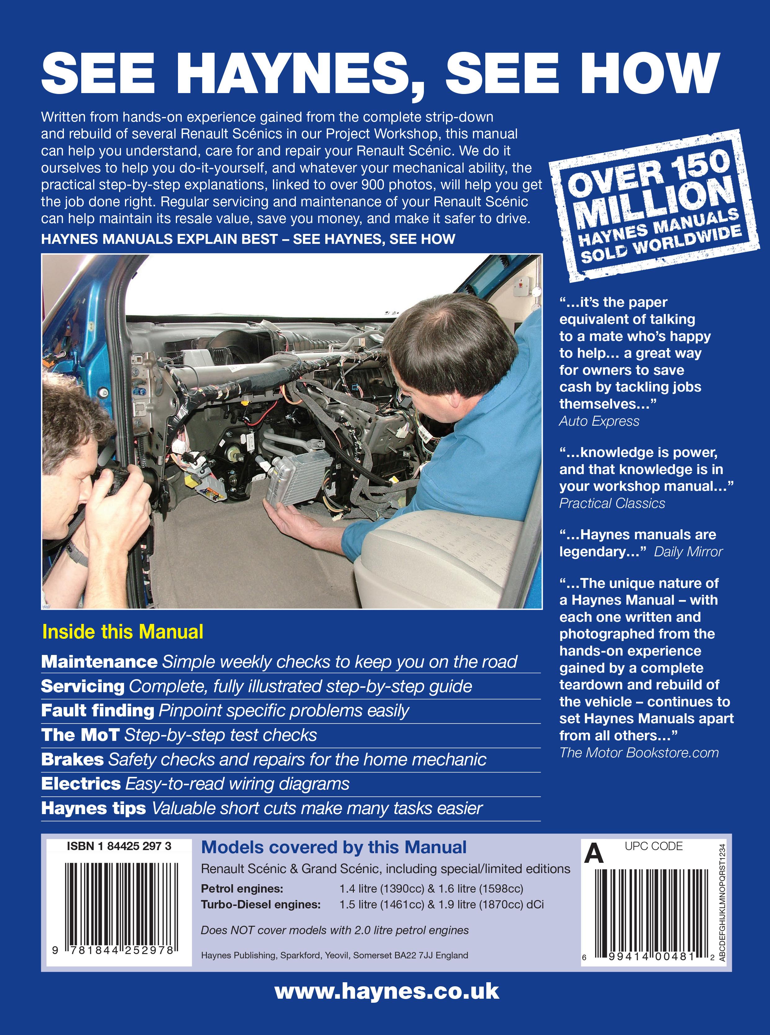 renault scenic petrol & diesel (sept 03 - 06) haynes repair manual, Wiring diagram