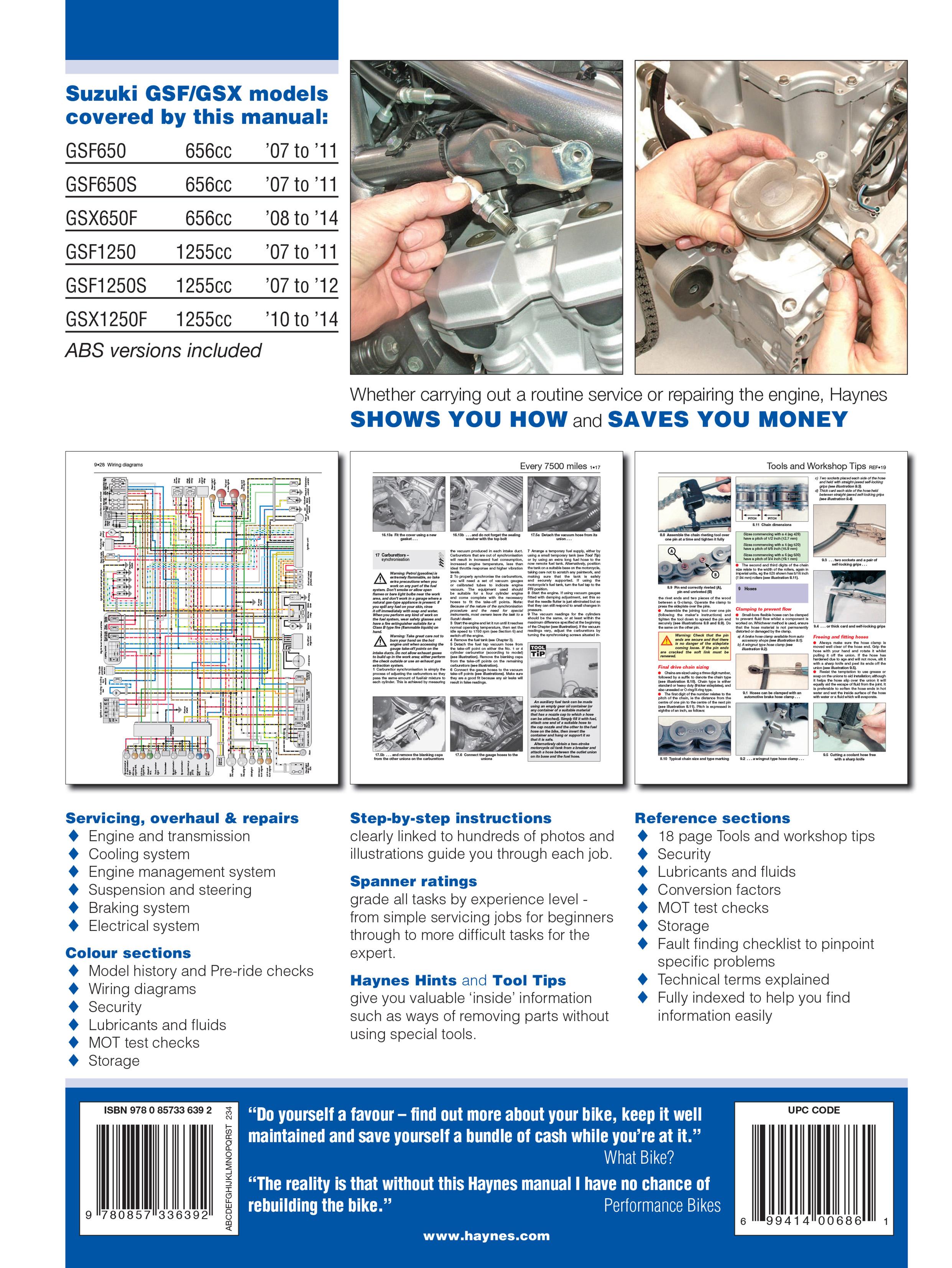 Suzuki Gsx 1250 Wiring Diagram 1987 Gsxr Gsf650 Bandit Gsx650 1250f 07 14 Haynes Repair Fa