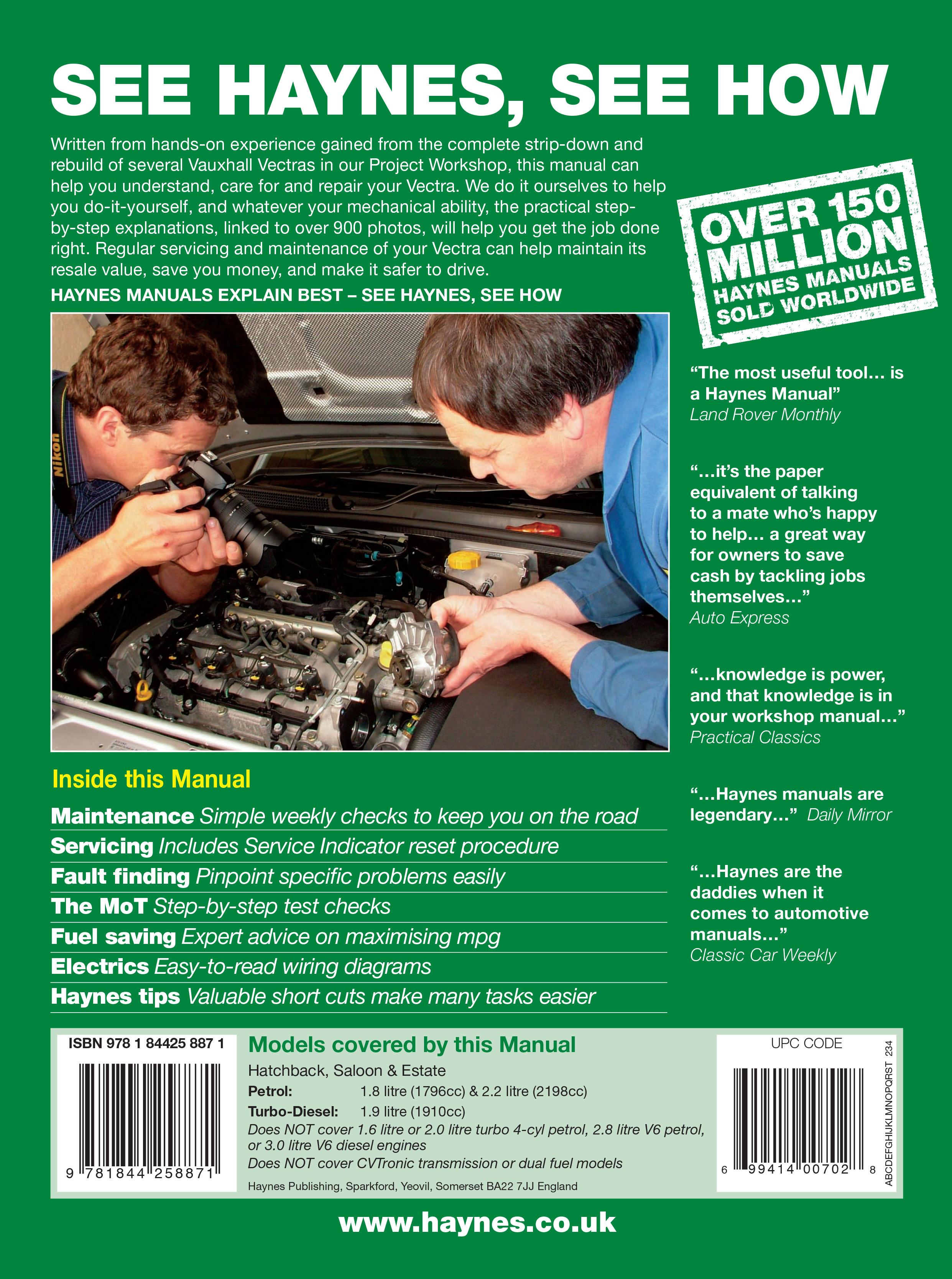 Haynes 4887 back cover vauxhall opel vectra petrol & diesel (oct 05 oct 08) haynes haynes wiring diagram legend at soozxer.org