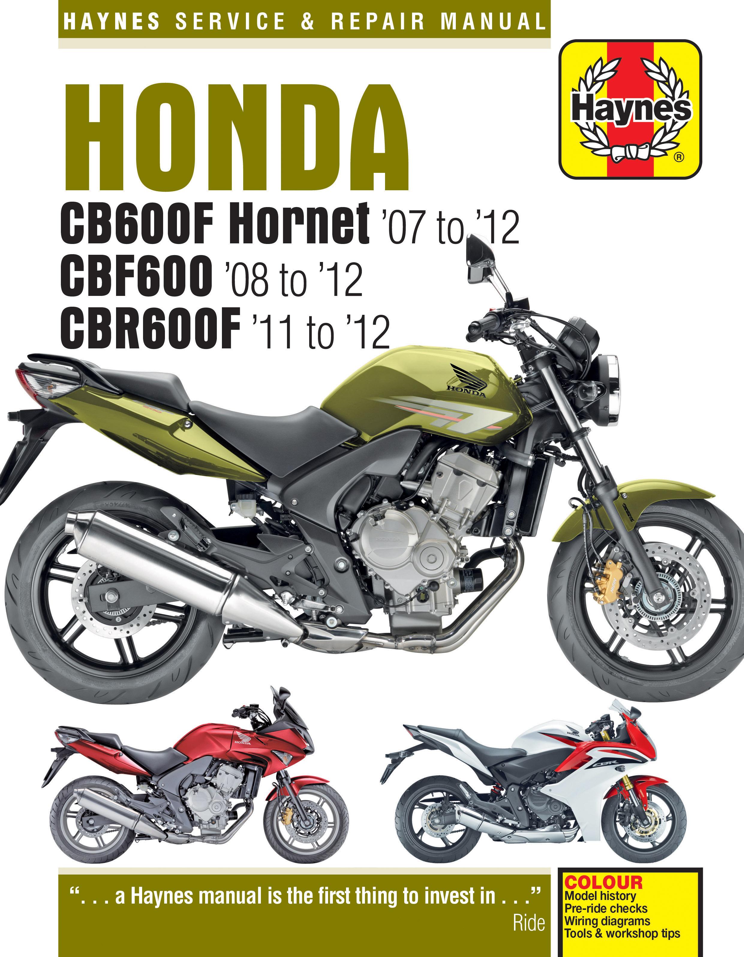 Honda CB600 Hornet, CBF600 & CBR600F (07 - 12) Haynes Repair Manual