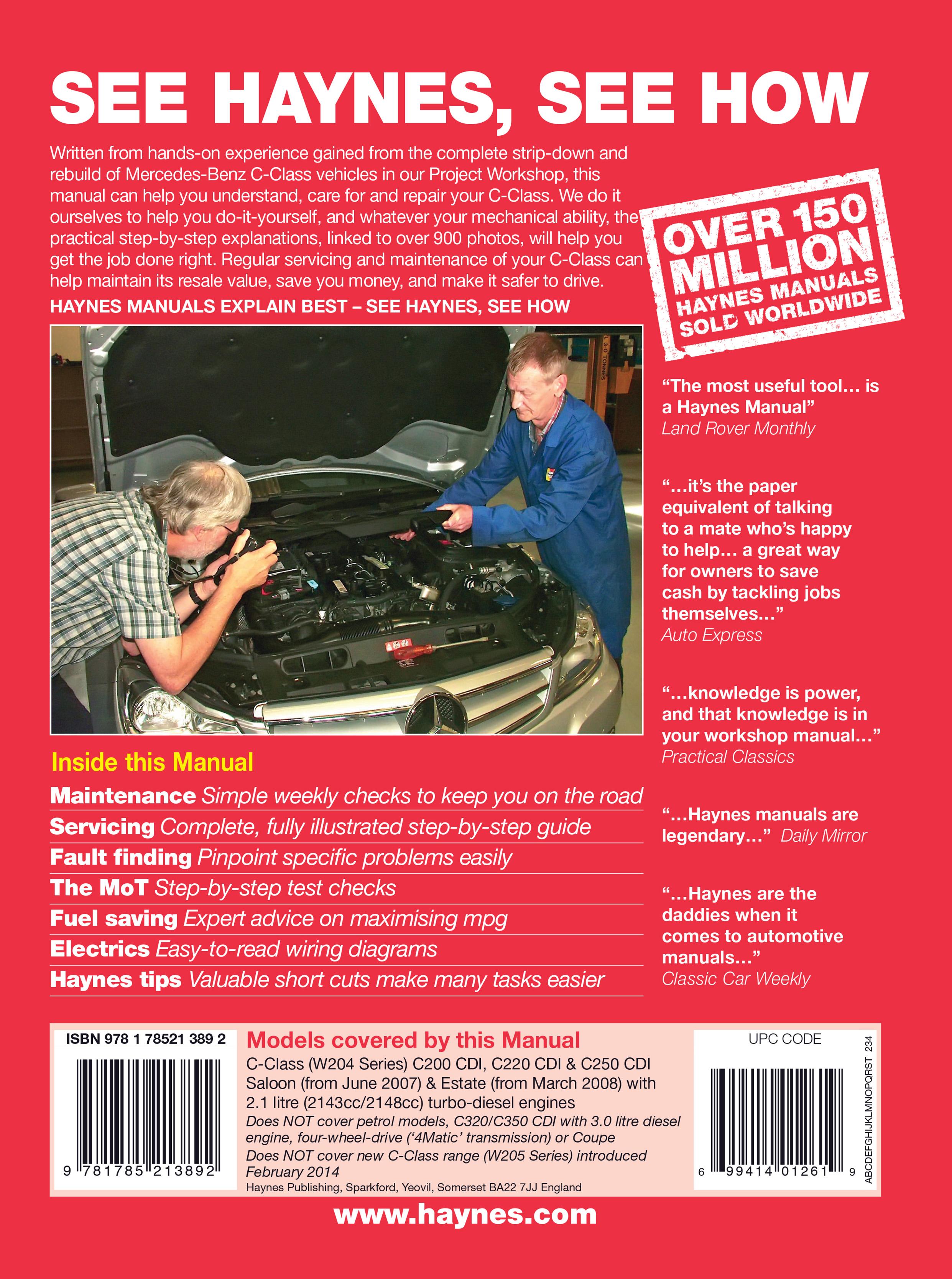 Mercedes-Benz C-Class (2007 - 2014) Repair Manuals