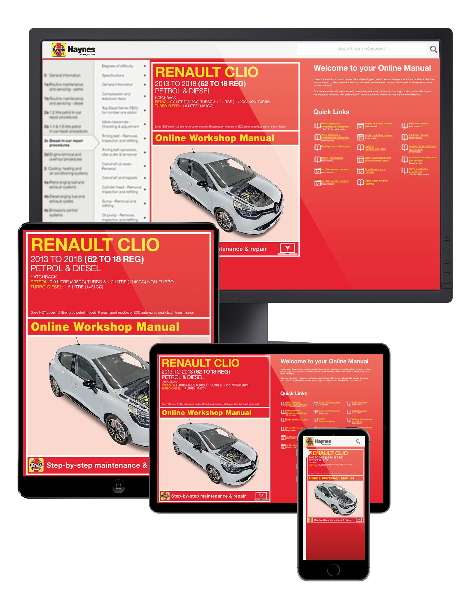 Renault Clio Petrol & Diesel (13 - 18) 62 to 18 Haynes Online Manual